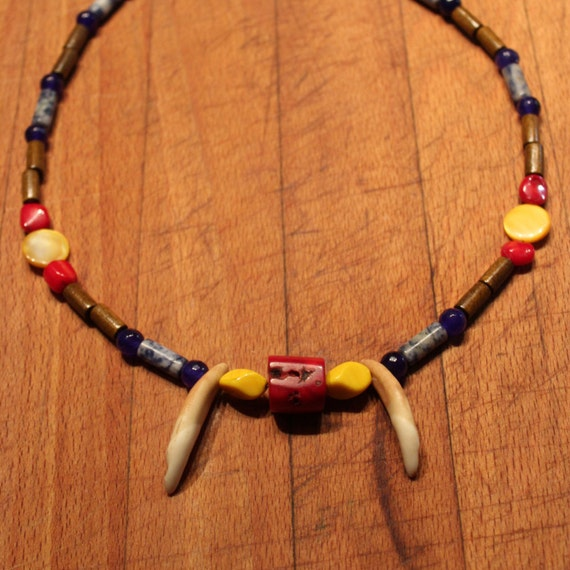 "Large Wolf Tooth Necklace 20"" Wolf Teeth Native American African Coral African Blue Sapphire Abalone shell Sodalite Wood Tribal Native"