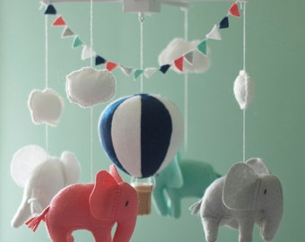 Baby mobile, Elephant mobile, Hot Air Balloon mobile, crib mobile, Balloon Nursery Decor, coral and navy baby room decor, Baby Shower Gift
