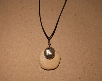 Hand-Cast Pewter Snail Shell and Polished Oak Slice Necklace