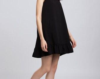 Zinnia Ruffles Dress Mini Felt Black Party Ruffles