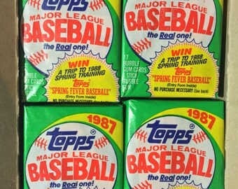 4 vintage 1987 Topps Baseball wax packs trading cards