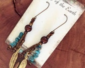 Turquoise Dangle Earrings - Feather Earrings - Native American Inspired - Brown and Turquoise