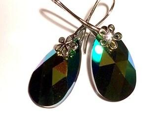 Scarabeus Green Swarovski Earrings, Green Swarovski Pear Earrings, Bright Green Swarovski Earrings, Swarovski Jewelry