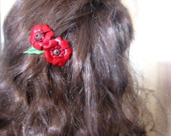 Red Rose Kangaroo Leather Hairclip