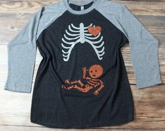 Pregnant Skeleton,  Halloween Skeleton Maternity Shirt, Halloween Pregnancy reveal , Bones Halloween Outfit, Pregnant Skeleton with Baby