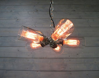 Modern Wine Bottle Chandelier - Large Clear - Upcycled Industrial Glass Ceiling Light - Hanging or Flush Mount