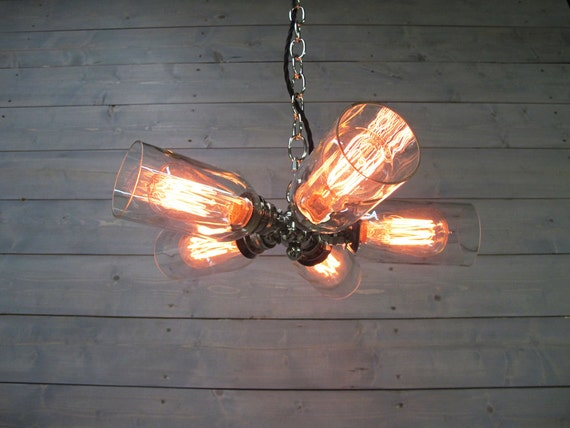 Modern Wine Bottle Chandelier Large Clear Upcycled