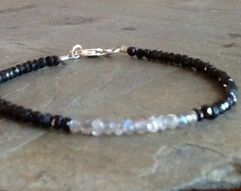 Faceted Black Spinel w Labradorite and Silver Clasp Bracelet