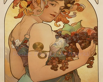 "Alphonse Mucha ""Fruit"" 1897 Reproduction Digital Print Woman holding Fruits Grapes Flowers in her Hair"
