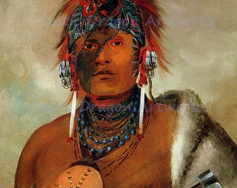 "George Catlin ""Wa-Hon-Ga-Shee"" No Fool 1870 Reproduction Digital Print Distinguished Man of the Kansa Nation Indian Vintage Print"
