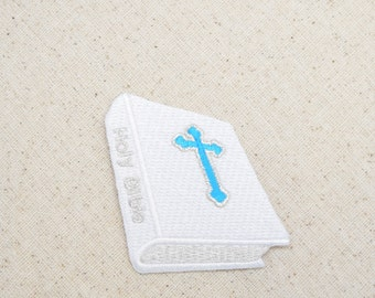 Holy Bible with Cross - Turquoise and White - Iron on Applique - Embroidered Patch - WA77