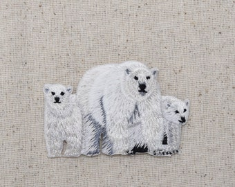 Polar Bear - Mom and Cubs - Arctic - Iron on Applique - Embroidered Patch - 695146A