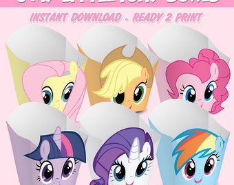 6 Popcorn Box My Little Pony - popcorn box My Little Pony - Instant Download