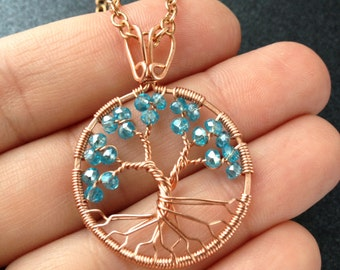 Aquamarine Tree-Of-Life necklace Copper Wire Wrapped Pendant Aquamarine Jewelry March Birthstone Pisces Peace Amulet Chakra Peace Jewelry