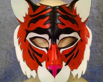 Hand Crafted Leather Tiger Mask