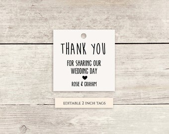 Printable Favor Tags Thank You Tags Template - Instant Download | 2x2 inch | Any colours | Chalky | Editable template | gift tags printable