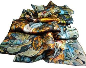 "Long Silk Satin Scarf, 3D Fractals, gifts for women, shawl, digital print scarves, ""Fractal Cascade"" design, science scarves, womens scarves"