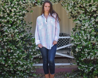 Mens western button front shirt blue and pink plaid Size L 16-32