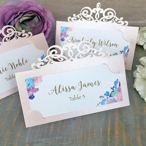 Blush Laser Cut Place Card with Flowers & Clear Crystal - Escort Card - Custom Placecard for Weddings, Sweet 16, Quinceañera, Bridal Showers