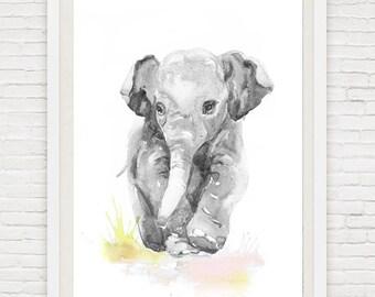 Art Baby Elephant, Watercolor Painting,Neutral Nursery Decor Baby Boy, Girl, Original Wall art, baby Gift ideas, Animal  Watercolour  Gray