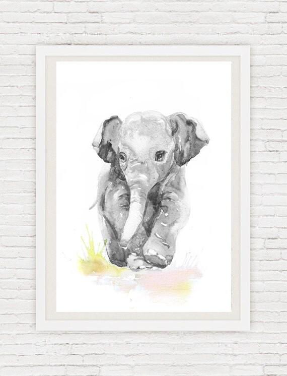 Art Baby Elephant Watercolor Paintingneutral Nursery Decor