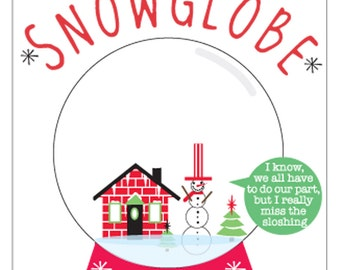 Set of 10 Cool, Funny Christmas Cards - California Snowglobe