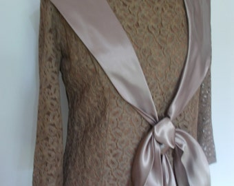 Vintage 50s dress mocha coloured lace pencil dress with satin shawl tie size large