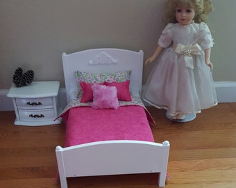 White 1:4 Scale bed/ American girl doll sized bed/ 18 inch doll bed/ large doll bed/ wooden doll bed/ wood doll bed/ doll furniture