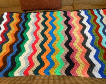multicolor adult blanket colorful verigated afghan hand crochet hand made blanket home decor adult teen toddler blanket twin bed cover