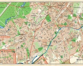1965 Berlin Germany (Steglitz-Zehlendorf Area) Vintage Map