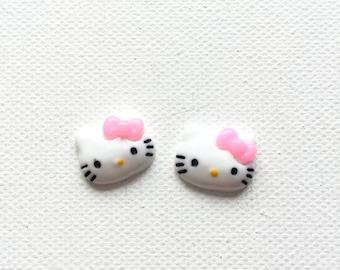 Hello Kitty Earrings, Hello Kitty Post Earrings, Stud Earrings, Kawaii, Miniature, Fun, Kitsch
