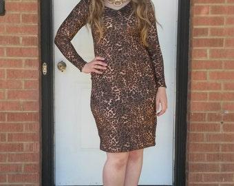 Leopard Print Midi Dress/ Long Sleeves/ Animal Print/ V-neck