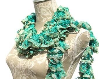 Crochet Ruffle Scarf, Aqua Green Crochet Scarf, Sashay Scarf, Ruffle Crochet Scarf, Fashion Scarf, Ready to Ship, Gift for Her, Ruffle Scarf