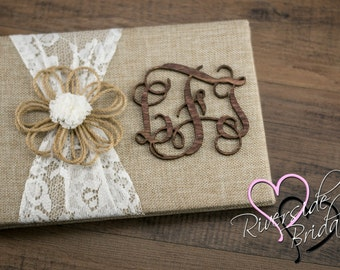 Rustic guest Book, Burlap & Lace Guest book, Burlap Guest Book, Rustic Wedding Guest Book, Personalized Guest Book, Wedding Guest Book