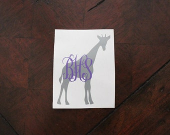 Monogram Giraffe Decal - Monogram Decal - Car Monogram - Vinyl Monogram Decal