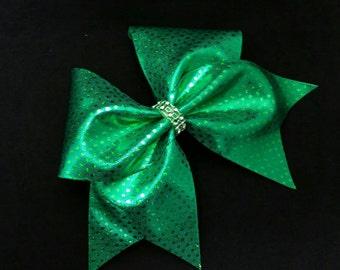 Green cheer bow, cheer bow, sequin cheer bow, cheerleading bow, cheerleader bow, cheer bows, softball bow, hair bow large bow, dance bow