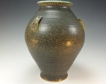 Large vase, earthy tones, green and textured with three handles
