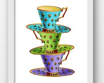 Teacups Stacked, Vintage Teacups, Colorful Teacups, Teacup Digital Prints, Teacup Digital Prints, Instant Digital Downloads, Tea Time Art