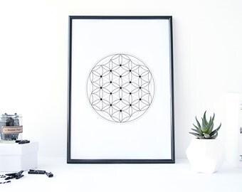 printable art, geometric art, sacred geometry art, minimalist poster,