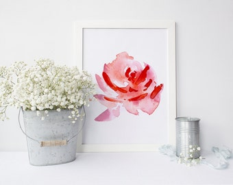 PRINTABLE Art Red Floral Floral Art Print Floral Wall Art Red and White Red Nursery Decor Nursery Wall Art Nursery Art Print Home Decor