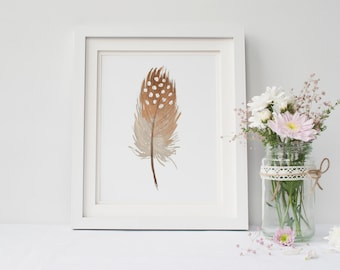 PRINTABLE Art Watercolor Feathers Brown Watercolor Print Watercolor Print Watercolor Art Tribal Feathers Feather print Feather Art