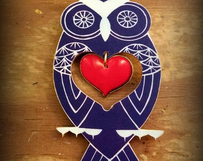 Owl Pin - Owl Brooch - Owl Jewelry - Blue Owl - Valentines Day - Owl Love - Owl Fan - Unique Owl - Shrink Plastic Pin - Costume Jewelry