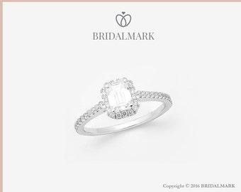 Bridalmark 18K White Gold & 0.70ct Center Diamond Engagement Ring