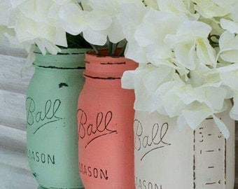 Set of three chalkboard mason jars