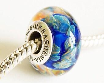 Artisan Lampwork glass Charm bead. Silver cored bead. Large hole lampwork bead, Fits Pandora, European Charm Beads Glass Handmade Boro glass