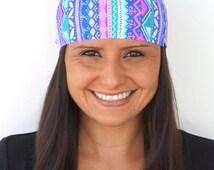 Pink & Purple Aztec   Fitness headband   Yoga headband   Gym headband   Running headband   Wide Headband   Buy 5, Get 1 FREE! BUY5GET1