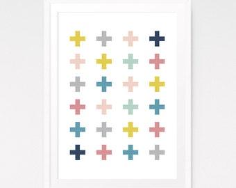 Swiss Cross Print, Nursery Wall Art, Cross Wall Art, Plus Sign Wall Prints, DIY Nursery Art, Swiss Cross Art, Cross Pattern, Nursery Decal