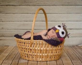 Newborn Owl Hat and Diaper Cover