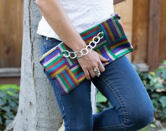 Colorful Clutch, Zippered Clutch, Party clutch, Large Clutch, Evening bag, Clutch with chain, Hand strap clutch.