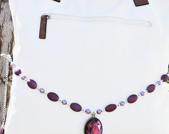 Pearls and gem purple purse wrap